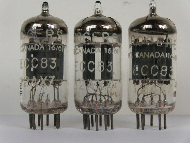 3 MATCHING ECC83,12AX7 ROGERS AMPEREX TUBES,TEST STRONG MADE IN HOLLAND