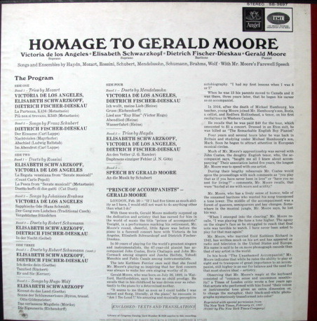 EMI Angel Blue / SCHWARZKOPF, - Homage to GERALD MOORE, NM, 2LP Box Set!