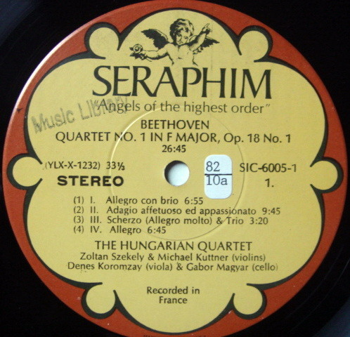 EMI Angel Seraphim / HUNGARIAN QT, - Beethoven The Early Quartets, NM, 3LP Box Set!