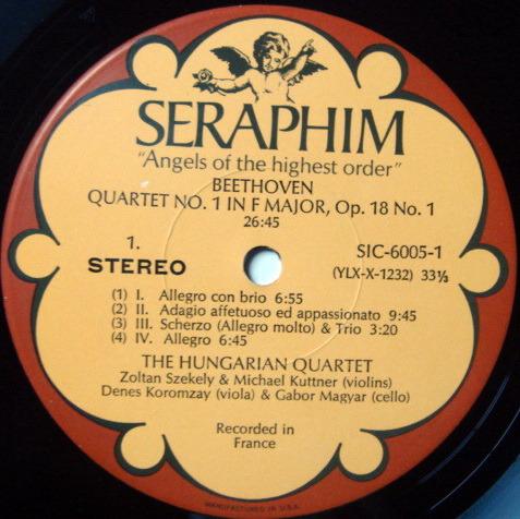 EMI Angel Seraphim / HUNGARIAN QT, - Beethoven The Early Quartets, NM, 3LP Box Set!
