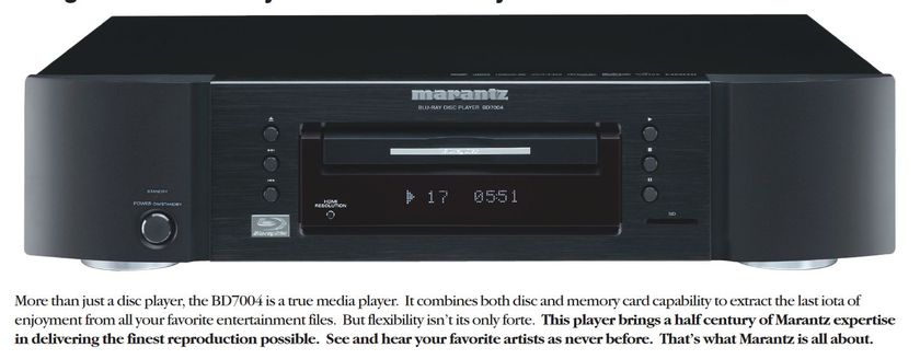 MARANTZ BD7OO4 SINGLE DISC BLU-RAY DISC