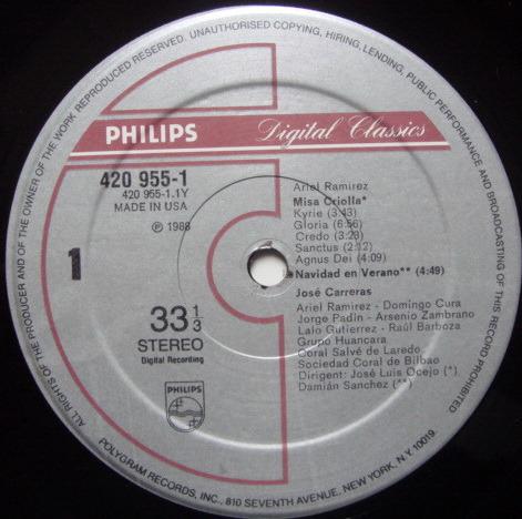 Philips Digital / JOSE CARRERAS, - Ramirez Misa Criolla, NM!