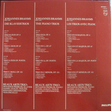 Philips / BEAUX ARTS TRIO, - Brahms Piano Trios, NM, 2LP Box Set!
