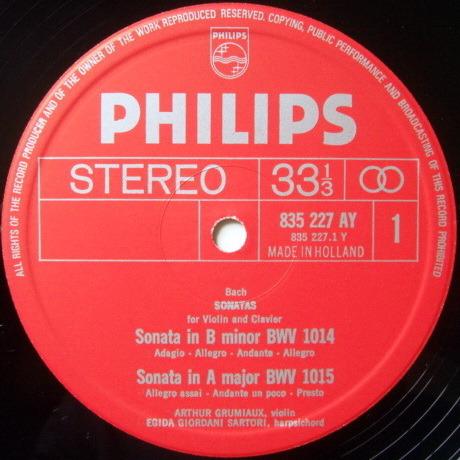 Philips / GRUMIAUX-SARTORI, - Bach Six Sonatas for Violin & Clavier, NM, 2LP Box Set!
