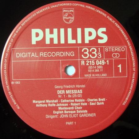 Philips Digital / JOHN ELIOT GARDINER, - Handel Messiah, NM, 3LP Box Set!