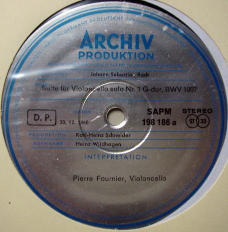 ★1st Press★ Archiv / FOURNIER, - Bach Suites for Cello Solo No.1 & 2, NM!