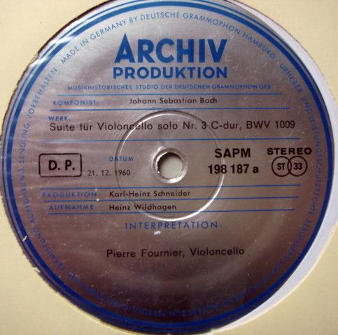★1st Press★ Archiv / FOURNIER, - Bach Suites for Cello Solo No.3 & 4, NM!