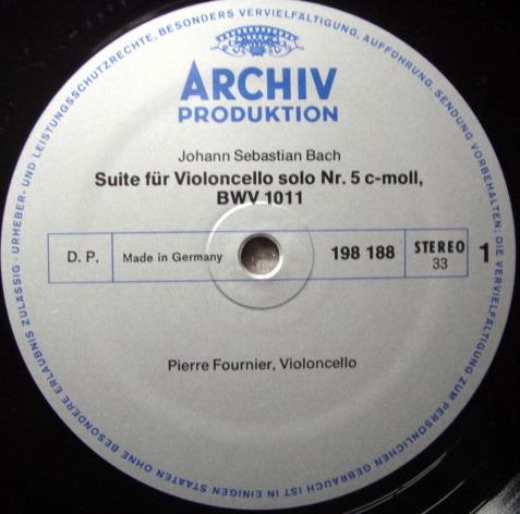 Archiv / FOURNIER, - Bach Suites for Cello Solo No.5 & 6, NM!