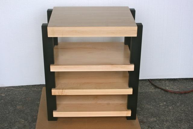 Timbernation  Hi-End Audio  Stereo Rack     Maple Shelves  with Black Post