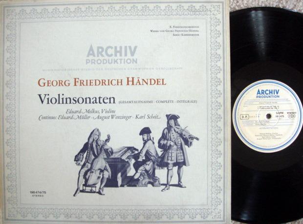 ★1st Press★ Archiv / MELKUS, - Handel Violin Sonatas,  NM, 2 LP Set!
