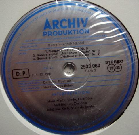 ★1st Press★ Archiv / RICHTER, - Handel 6 Sonatas for Flute & Basso Continuo, NM!