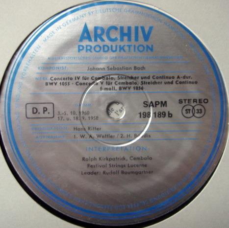 ★1st Press★ Archiv / BAUMGARTNER, - Bach Triple Concerto, NM!