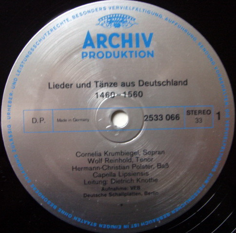 Archiv / KNOTHE, - Lieder and Dances from Germnay, NM!