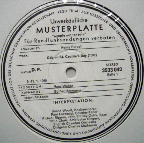 ★1st Press★ Archiv / MACKERRAS, - Purcell Ode on ST.Cecilia's Day,  NM, White Promo Copy!
