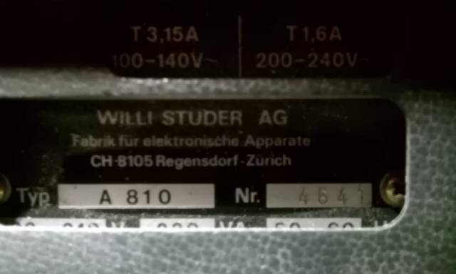 Studer A810 Studio quality, made in Switzerland