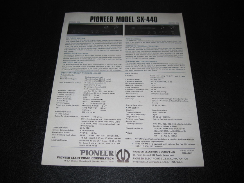 PIONEER SX-440 Stereo Receiver AD SLICK - PIONEER SX-440
