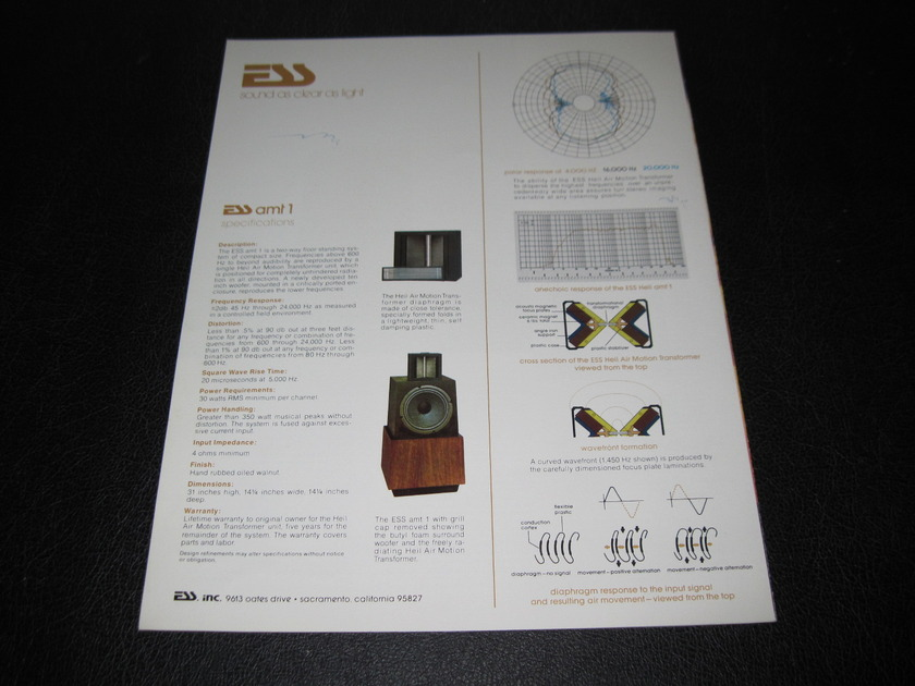 ESS AMT1 TOWER FLOORSTANDING SPEAKERS - -ORIGINAL PRODUCT BROCHURE-  FAST SHIPPING