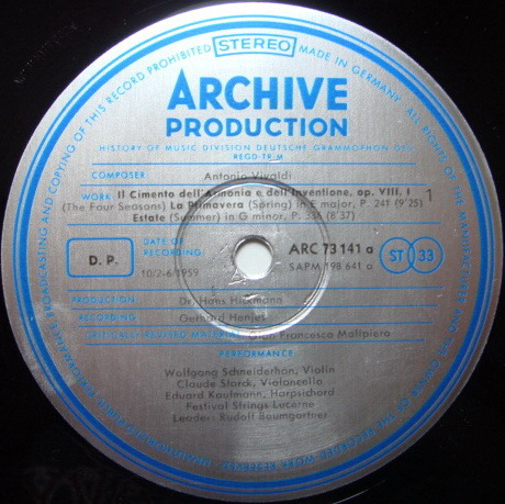 ★1st Press★ Archiv / SCHNEIDERHAN, - Vivaldi The Four Seasons, NM!