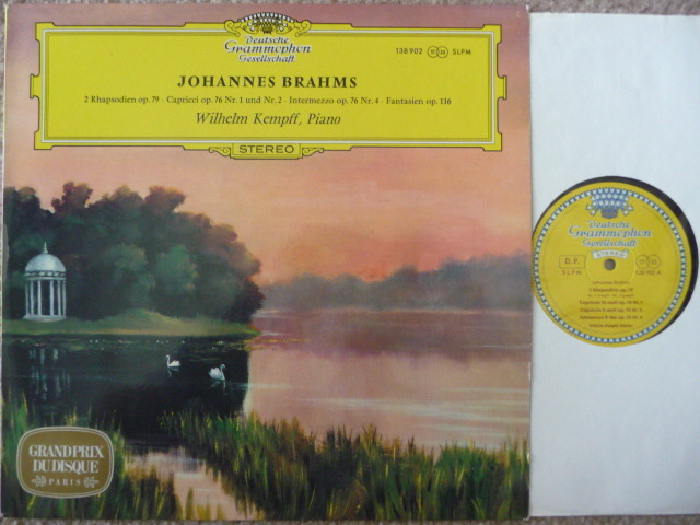 BRAHMS - WILHELM KEMPFF PIANO DGG TULIP LP EXCEL