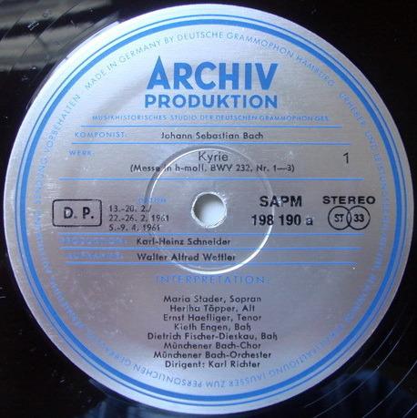 ★1st Press★ Archive / RICHTER, - Bach Mass in B Minor, NM, 3LP Box Set!