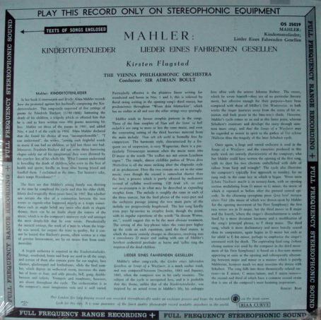★Sealed★ UK DECCA-LONDON FFSS / FLAGSTAD-BOULT, - Mahler Kindertotenlieder, Original WB, BB!