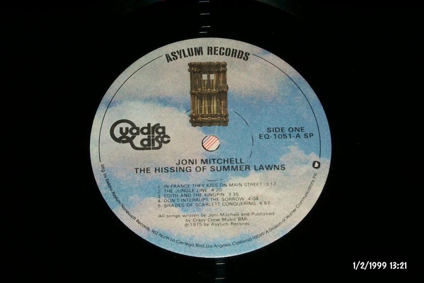 Joni Mitchell - The Hissing Of Summer Lawns CD-4 quadradisc vinyl Lp NM