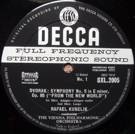 DECCA SXL-WB-BB-ED1 / KUBELIK, - Dvorak New Worlds Symphony, EX!
