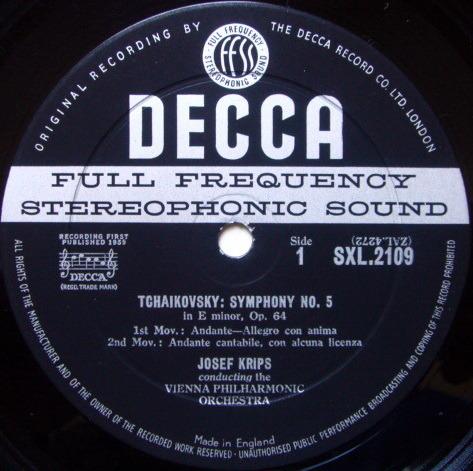 DECCA SXL-WB-ED1 / KRIPS, - Tchaikovsky Symphony No.5, VG+!