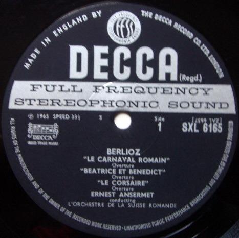 DECCA SXL-WB-ED2 / ANSERMET - conducts Berlioz, NM-!
