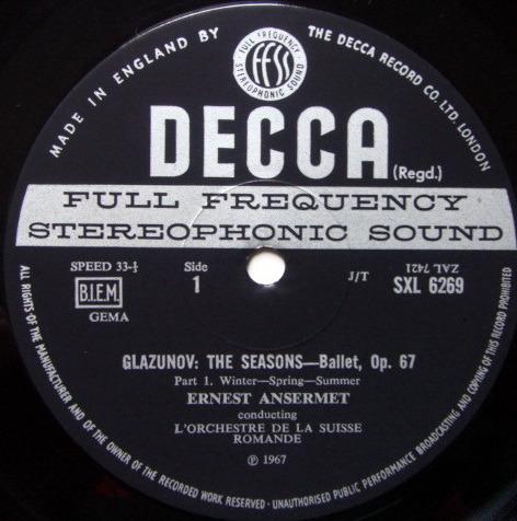 DECCA SXL-WB-ED3 / ANSERMET - conducts Glazunov, NM!
