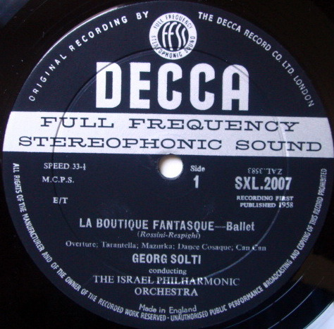 DECCA SXL-WB-BB-ED1 / SOLTI, - Rossini-Respighi La Boutique Fantasque, NM!