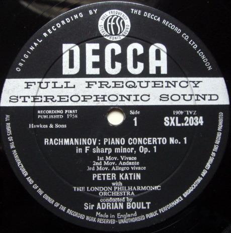 DECCA SXL-WB-BB-ED1 / KATIN-BOULT, - Rachmaninov Piano Concerto No.1, VG+!