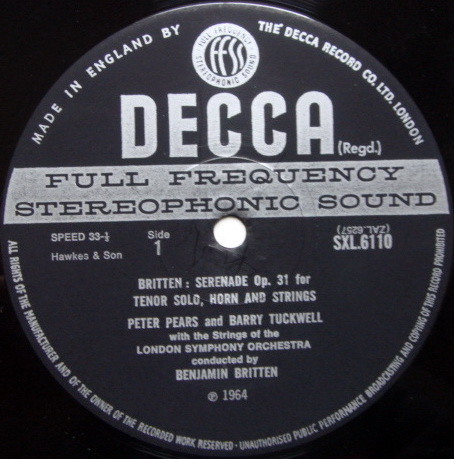DECCA SXL-WB-ED3 / BRITTEN, - Britten Serenade, Op. 31 for Tenor Solo, Horn & Strings, NM!