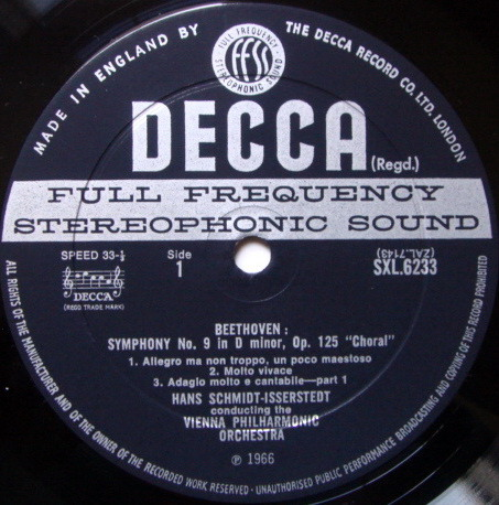 DECCA SXL-WB-ED2 / SCHMIDT-ISSERSTEDT, - Beethoven Symphony No.9 Choral, NM!