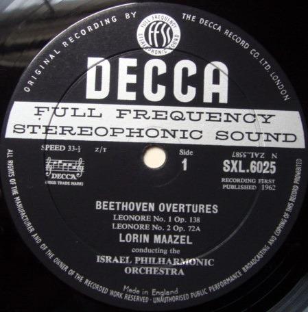 DECCA SXL-WB-ED1 / MAAZEL, - Beethoven Overtures, EX!