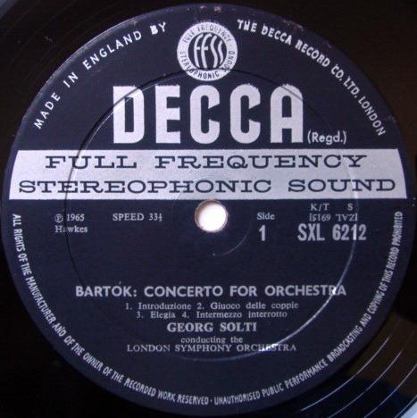 DECCA SXL-WB-ED2 / SOLTI, - Bartok Concerto for Orchestra, NM!