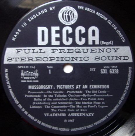 DECCA SXL-WB-ED3 / ASHKENAZY-MEHTA, - Mussorgsky Pictures at an Exhibition, NM!