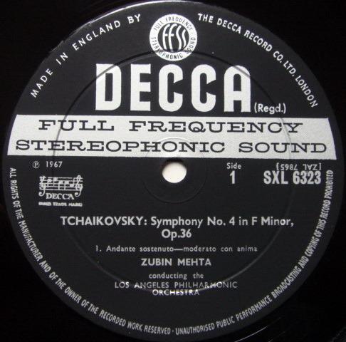 DECCA SXL-WB-ED2 / MEHTA, - Tchaikovsky Symphony No.4, NM!