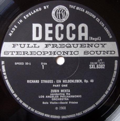 DECCA SXL-WB-ED3 / MEHTA, - R. Strauss Ein Heldenleben, NM!