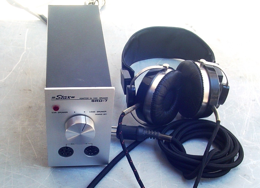 Stax SR-X Headphones Ear Speakers  With SR-7 Adapter Transformer  EX Condition W Boxes