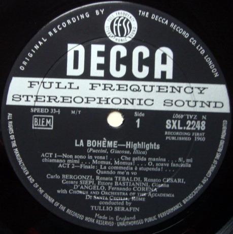 DECCA SXL-WB-ED1 / SERAFIN-TEBALDI, - Puccini La Bohme Highlights, EX!