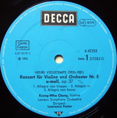 DECCA Germany / K W CHUNG-FOSTER, - Saint-Saens/Vieuxtemps Violin Concertos, NM!