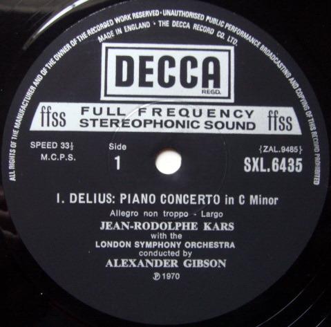 DECCA SXL-NB-ED5 / KARS-GIBSON, - Delius Piano Concerto, NM!