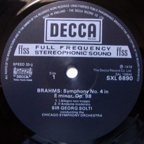 DECCA SXL-NB-ED4 / SOLTI, - Brahms Symphony No.4, NM!