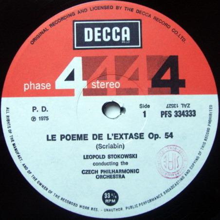 DECCA PHASE 4 STEREO / STOKOWSKI, - Scriabin Le Poeme de L'Extase, NM!