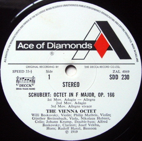DECCA SDD / VIENNA OCTET, - Schubert Octet in F, NM!