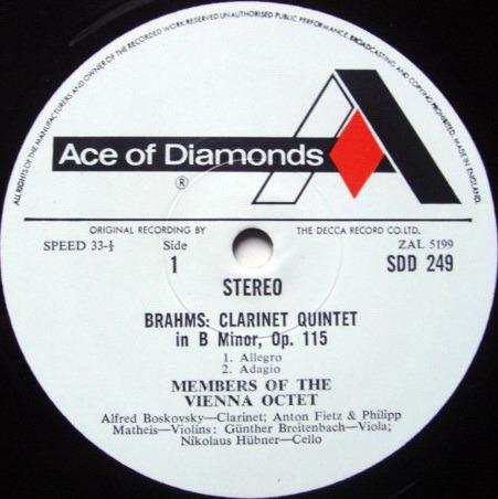 DECCA SDD / VIENNA OCTET, - Brahms Clarinet Quintet, NM!