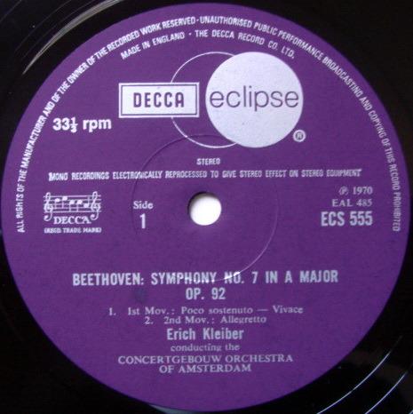 DECCA ECLIPSE / ERICH KLEIBER, - Beethoven Symphony No.7, NM!