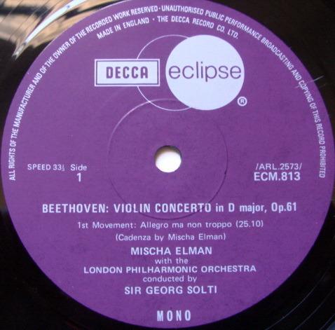 DECCA ECLIPSE / MISCHA ELMAN-SOLTI, - Beethoven Violin Concerto, NM!