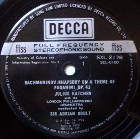 DECCA SXL-NB / KATCHEN-BOULT, - Rachmaninov Rhapsody on a Theme of Paganini, NM!